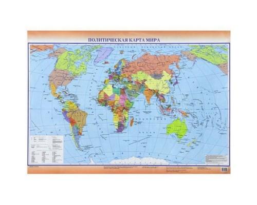 Карта мира политическая / Федеративное устройство России А2 (двусторонняя)