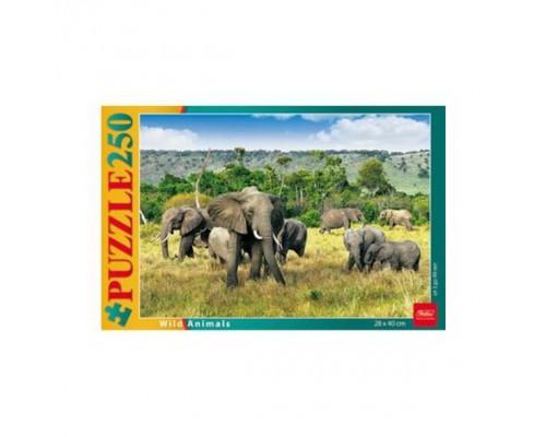 ПАЗЛ 250 элементов Слоны в саванне