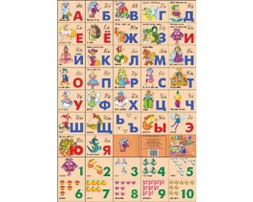 Плакат А2 Азбука русская разрезная + счет / Сказочная