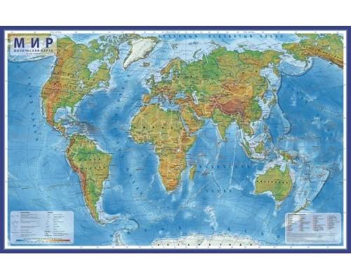 Карта Мир Физический 1:49М 59х39 КН022