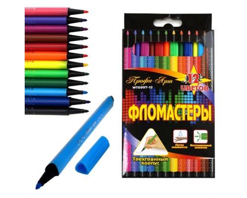 """Фломастеры 12 цветов """"Профи-Арт"""" трехгранный корпус"""