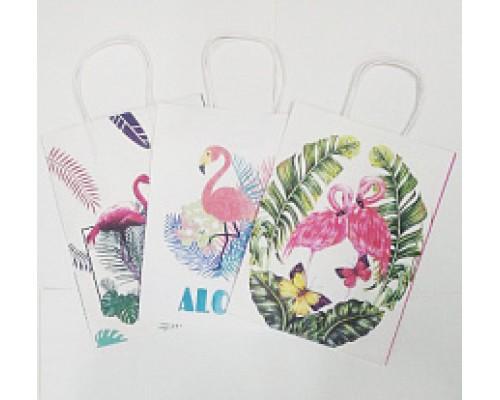 Пакет подарочный крафт 27*22*10 Фламинго