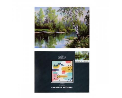 Алмазная мозаика 30*40см КОКОС Зеленый пейзаж полная выкладка холст на подрамнике 209527